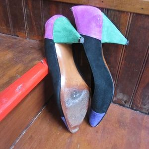 Beverly Feldman Shoes - Beverly Feldman Suede Tri-color pumps heels sz 8